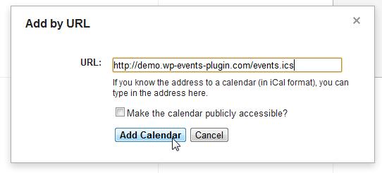 Subscribe to Calendar example in Google Calendar (2)