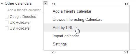 Subscribe to Calendar example in Google Calendar